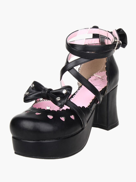 Milanoo Sweet Chunky Heels Shoes Platform Ankle Straps Bows