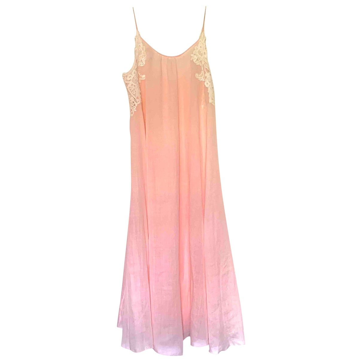Non Signé / Unsigned Hippie Chic Pink Cotton dress for Women One Size International