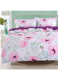 Designer 60S Brocade Romantic Pink Poppy with Green Leaves 4-Piece Cotton Bedding Sets
