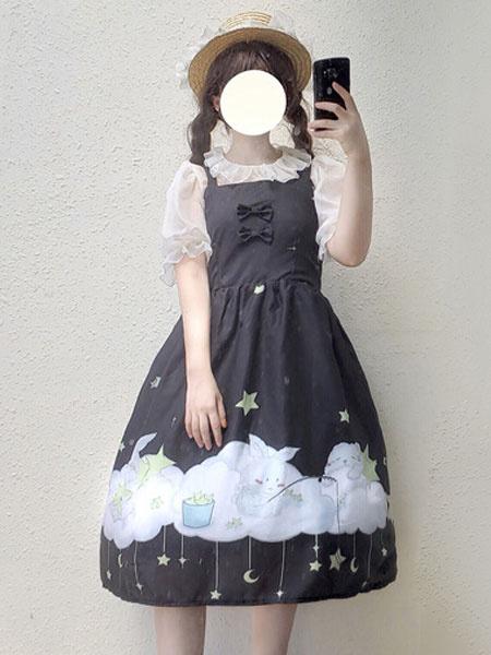 Milanoo Classic Lolita JSK Dress Star Rabbit Print Bow Pleated Lolita Jumper Skirt