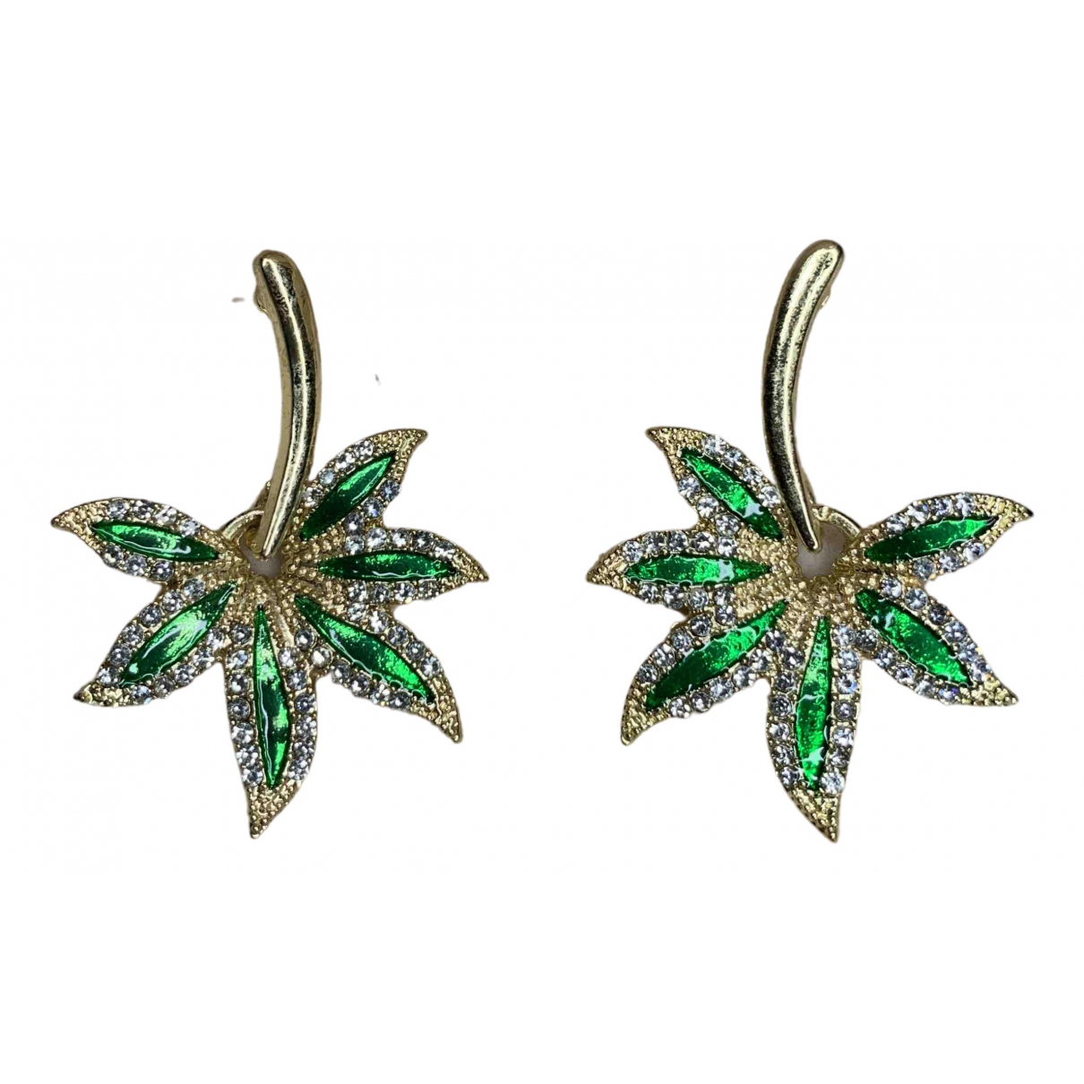 - Boucles doreilles Motifs Floraux pour femme en metal - vert