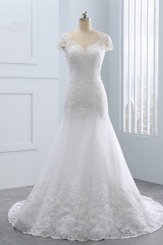 BMbridal Chic Jewel Mermaid Tulle Lace Wedding Dress Short-Sleeves Beadings Appliques Bridal Gowns On Sale