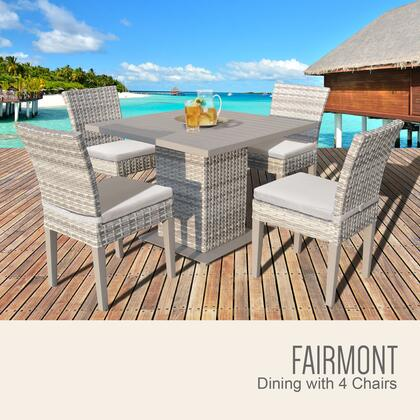 FAIRMONT-SQUARE-KIT-4ADCC-BEIGE Fairmont Square Dining Table with 4 Chairs with 2 Covers: Beige and