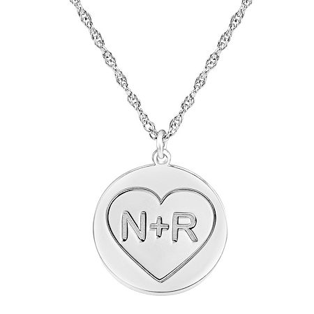 Personalized Couples Engraved Initial Pendant Necklace, One Size , White