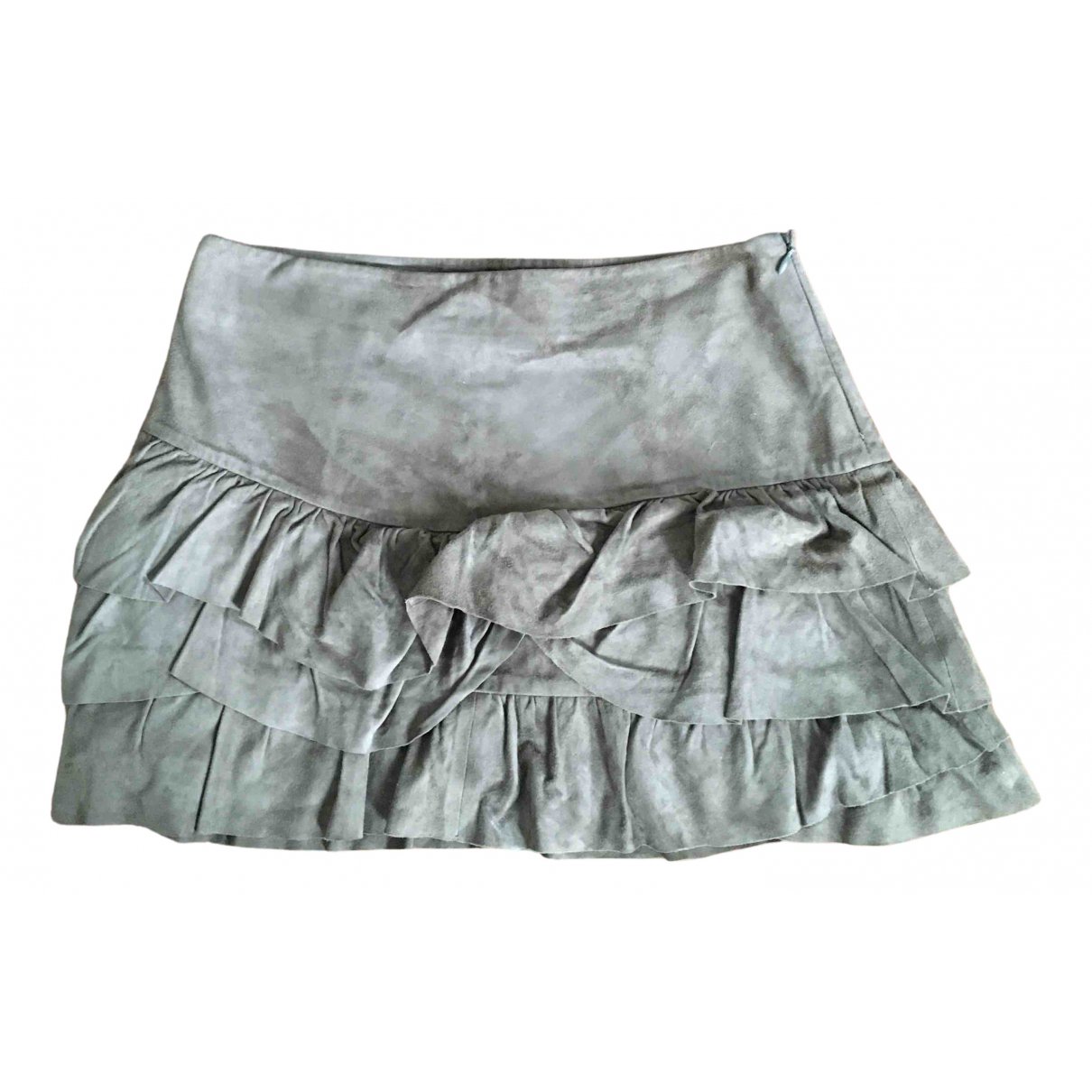 Maje N Brown Suede skirt for Women 36 FR