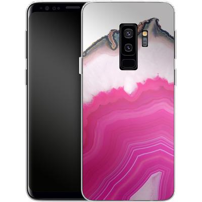 Samsung Galaxy S9 Plus Silikon Handyhuelle - Pink Agate Slice von Emanuela Carratoni