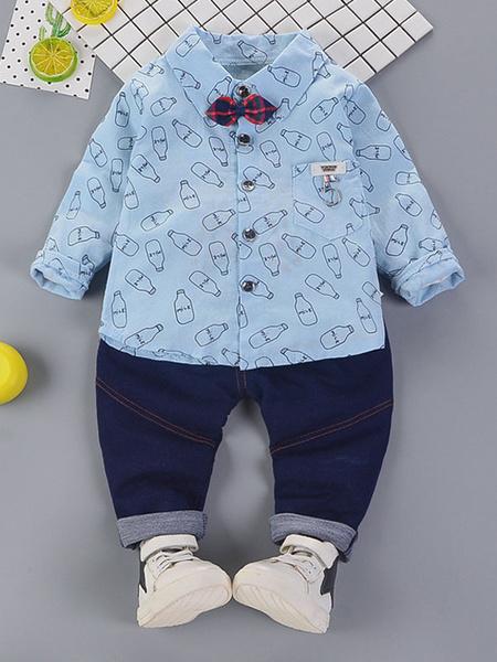 Milanoo Pantalones vaqueros y camisas azules claros del dril de algodon de los muchachos 2 pedazos Ropa formal de los niños