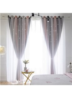 Modern Style 3-Colors Cloth and White Sheer Sewing Together 2 Panels Grommet Curtains