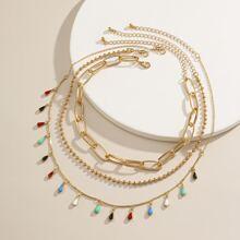 3 Stuecke Halskette mit Wassertropfen und Quasten Dekor