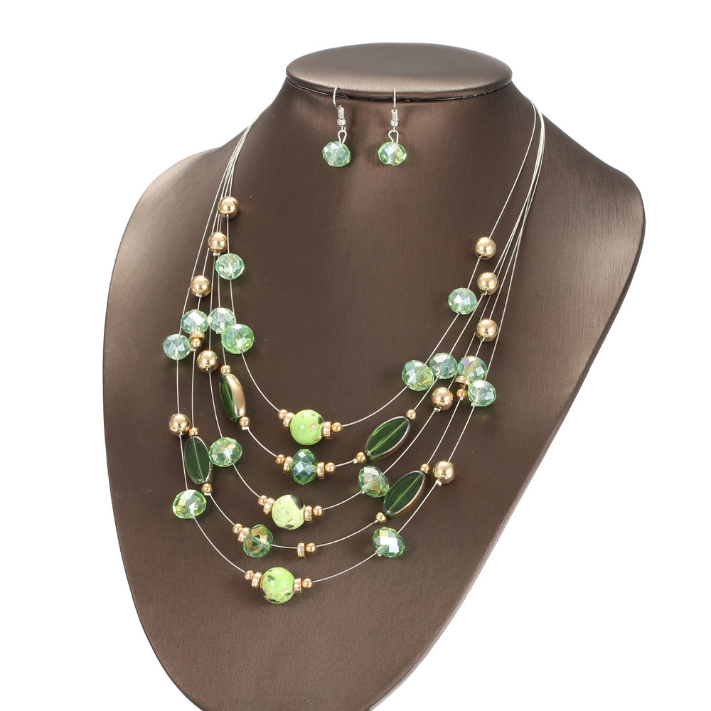Trendy Multilayer Necklace Crystal Dangle Earrings Ceramic Beads Luxury Wedding Party Jewelry Sets