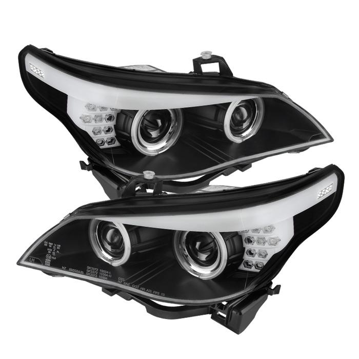 Spyder Auto PRO-YD-BMWE6004-CCFL-BK Black CCFL Halo Projector Headlights BMW E60 535xi with Halogen Lights 2007