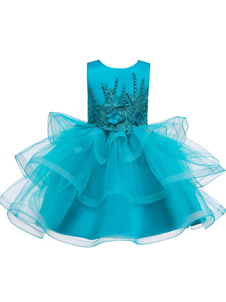 Milanoo Flower Girl Dresses Jewel Neck Tulle Sleeveless Knee Length Princess Silhouette Beaded Kids Party Dresses