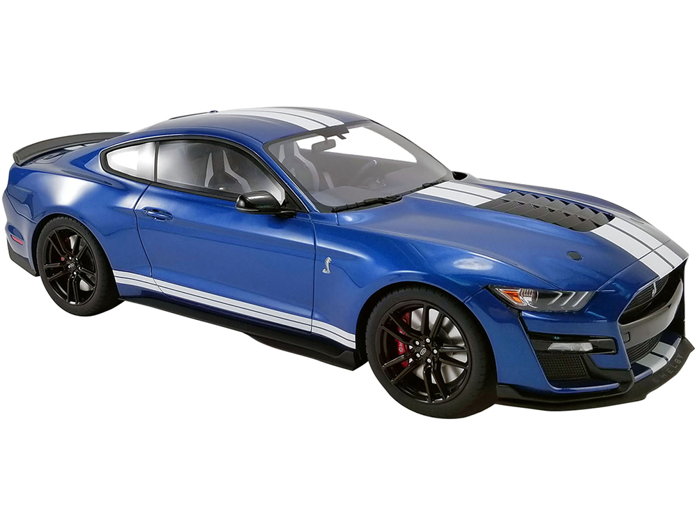 2020 Ford Mustang Shelby GT500 Ford Performance Blue with White Stripes 1/12 Model Car by GT Spirit for ACME