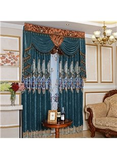 Classic Hollowed-out Embroidery Royal Design Blackout Custom Grommet Curtains for Living Room Bedroom