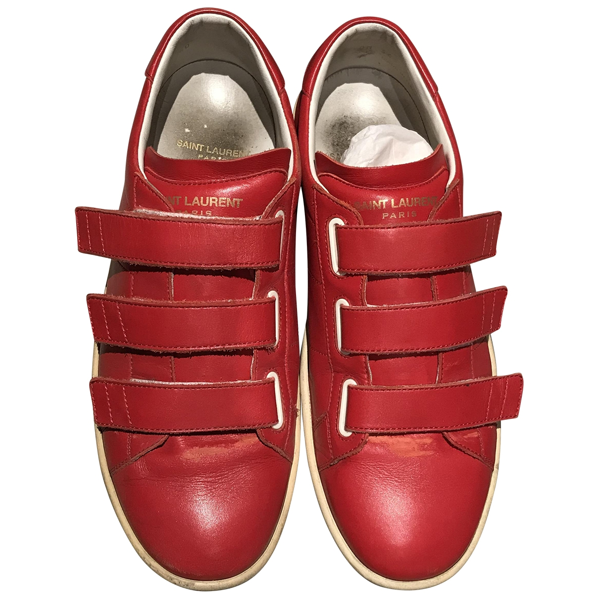 Saint Laurent - Baskets   pour femme en cuir - rouge