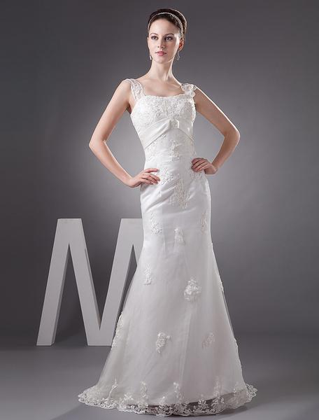Milanoo Vestido de novia de saten con tirantas finas y aplicacion de cola barrida