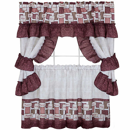 Inspiration Cottage Window Tier and Ruffled Topper Set, One Size , Red