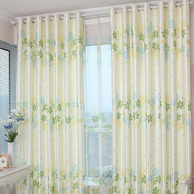 Decoration and Blackout Pastoral Floral Custom Window Curtains for Living Room Bedroom Nicely Prevents UV Ray Machine Wash Accepted Never Fading Crack