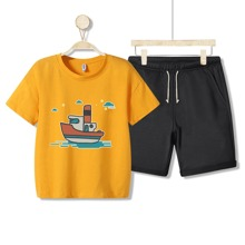 Boys Boat Print Tee With Drawstring Shorts