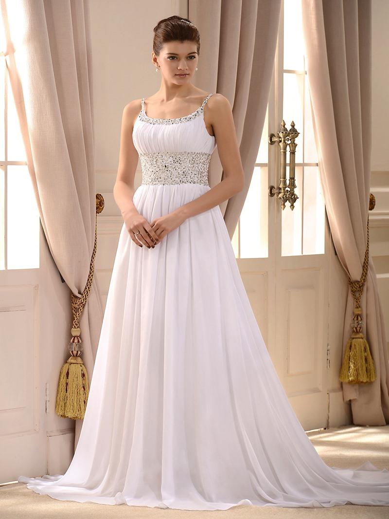 Ericdress Empire Waist Beaded Beach Wedding Dress