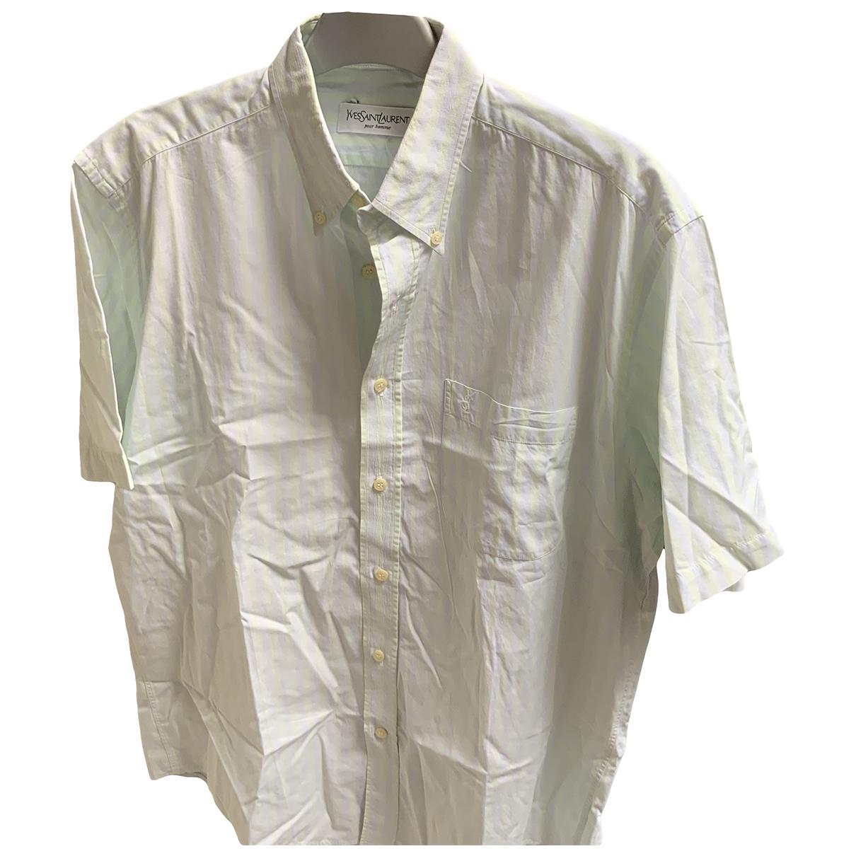 Yves Saint Laurent \N Green Cotton Shirts for Men 39 EU (tour de cou / collar)