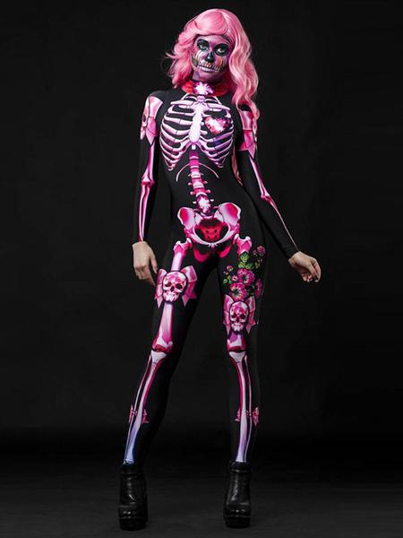Milanoo Traje de Halloween Esqueleto Zentai Mono Traje de Halloween