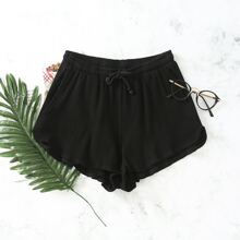 Tie Front Rib-knit Solid Shorts