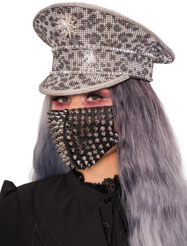 Kostuemzubehor Maske Steampunk mit kleinen Nieten Farbe: schwarz/schwarz