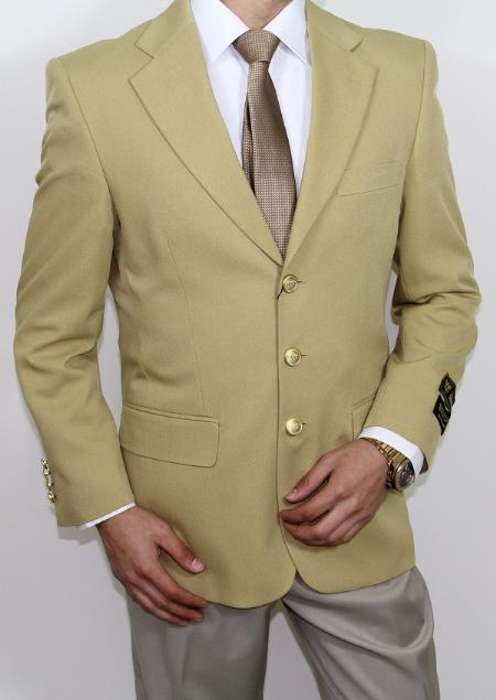 Mens Three Button Super s Gold Blazer