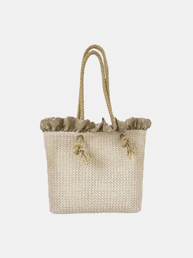 Women Travel Summer Beach Large Capacity Straw Handbag Tote