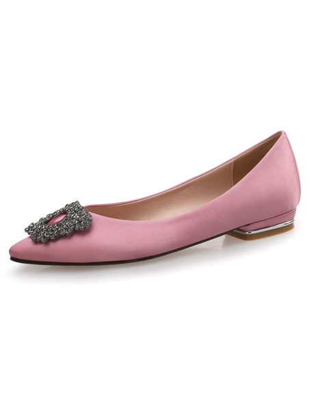 Milanoo Satin Ballet Flats Cameo Pink Pointed Toe Rhinestones Beaded Slip On Pumps
