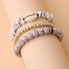 3pcs Shell Detail Beaded Bracelet