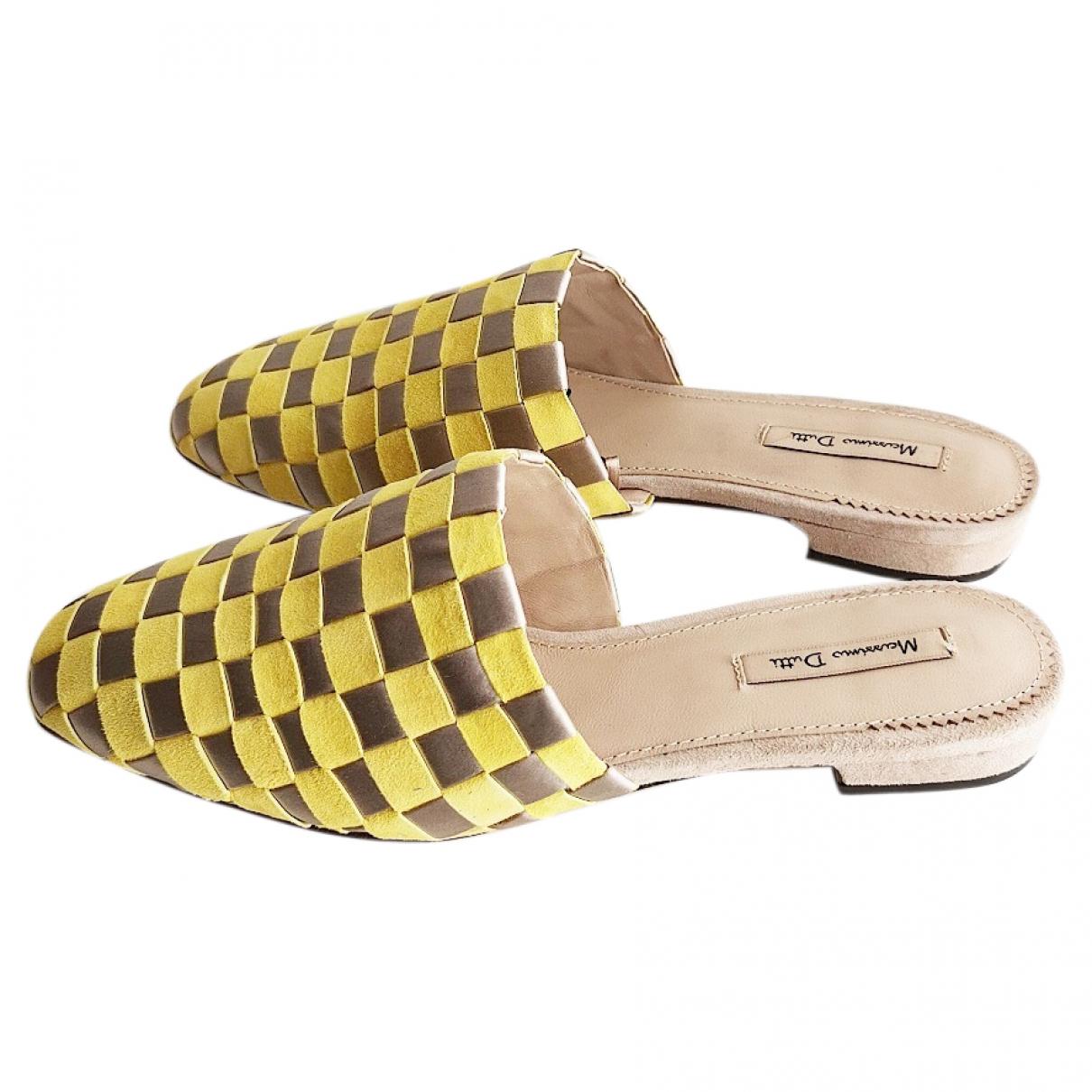 Massimo Dutti - Sandales   pour femme en suede - jaune