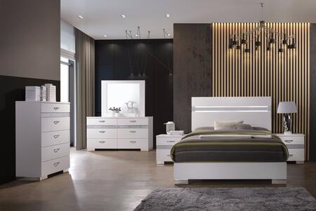 Naima II Collection 26770QSET 6 PC Bedroom Set with Queen Size Bed + Dresser + Mirror + Chest + 2 Nightstands in White High Gloss