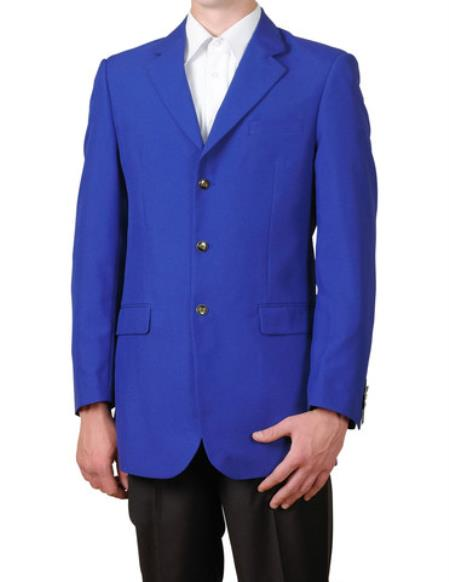 Royal Blue Single Breasted 3Button Suit Sportscoat Dinner Blazer