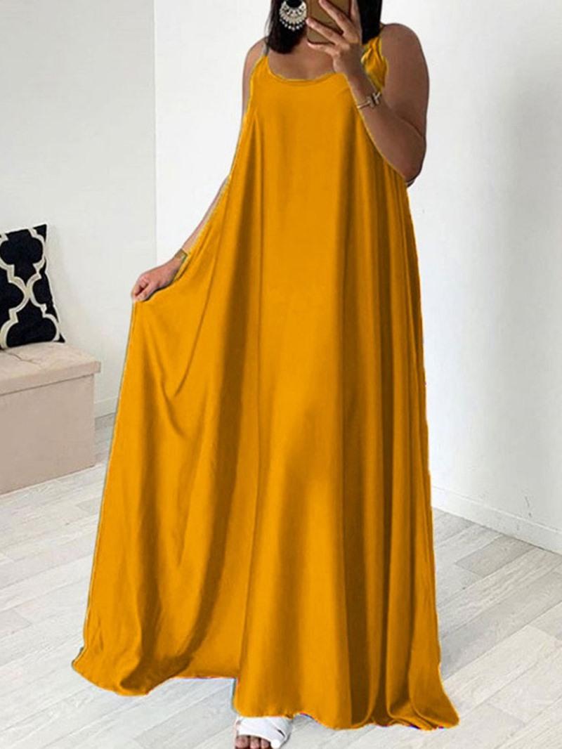 Ericdress Expansion Sleeveless Floor-Length Plain Travel Look Single Dress