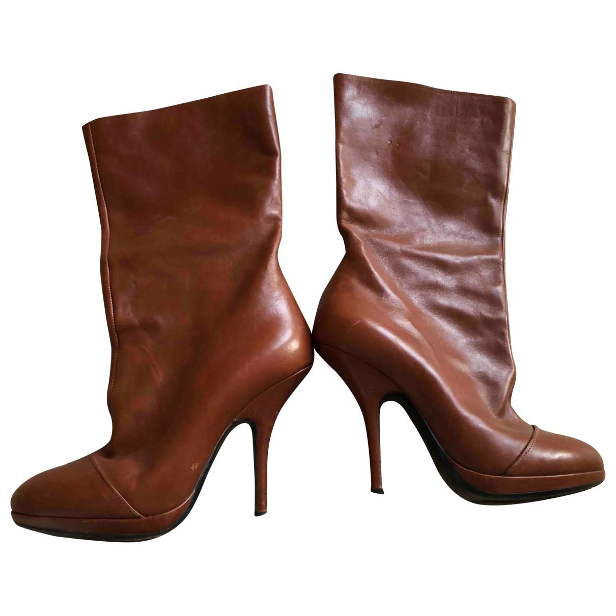 Dries Van Noten \N Brown Leather Boots for Women 38.5 IT