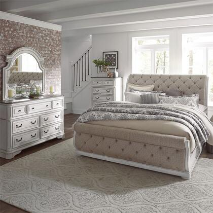 Liberty Furniture 244-BR-QUSLDMC 4 Piece Bedroom Set with Queen Size Upholstered Sleigh Bed  Dresser and Mirror  Chest in Antique White
