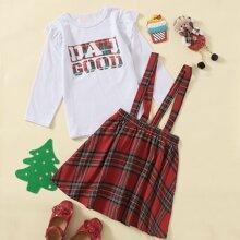 Toddler Girls Letter Graphic Ruffle Tee & Tartan Pinafore Skirt