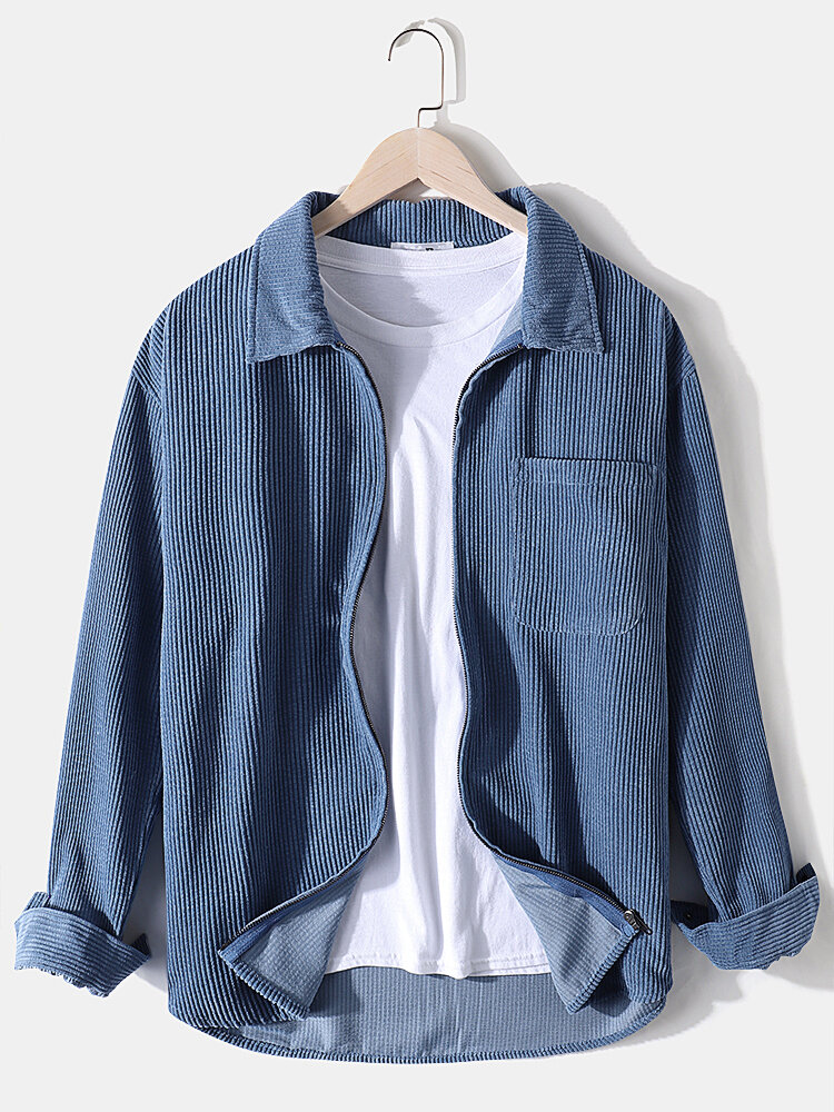 Mens Solid Color Corduroy Designer Chest Pocket Lapel Long Sleeve Shirts