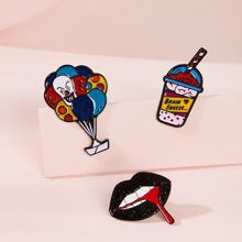 Clown & Mouth Shaped Brooches 3pcs