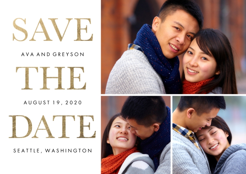 Save the Date Flat Matte Photo Paper Cards with Envelopes, 5x7, Card & Stationery -Save the Date Gold Type