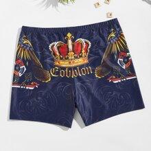 Men Crown And Letter Print Swim Trunks