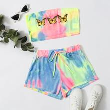 Butterfly Print Tie Dye Tube Top & Track Shorts Set
