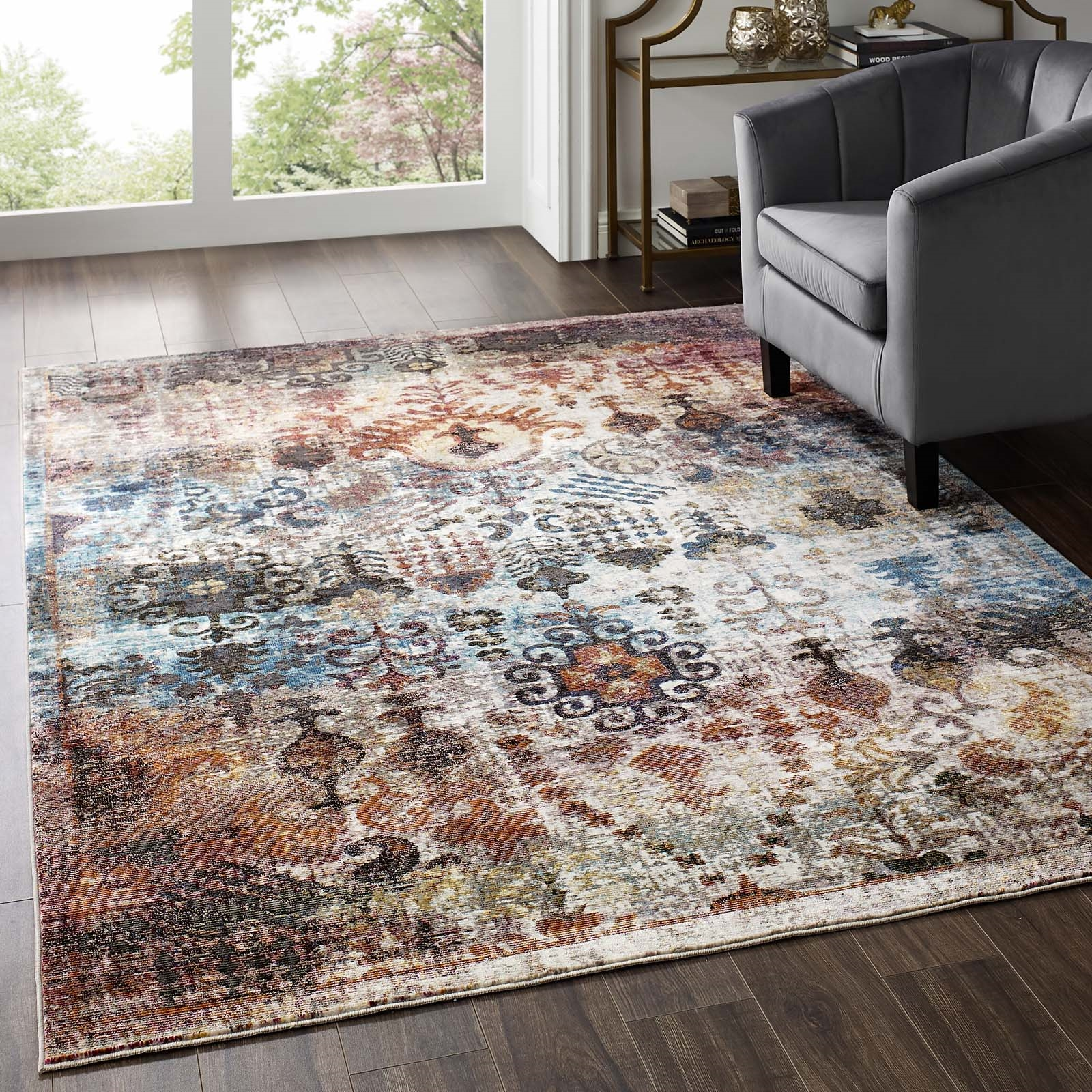 Success Tahira Transitional Distressed Vintage Floral Moroccan Trellis 5x8 Area Rug in Multicolored