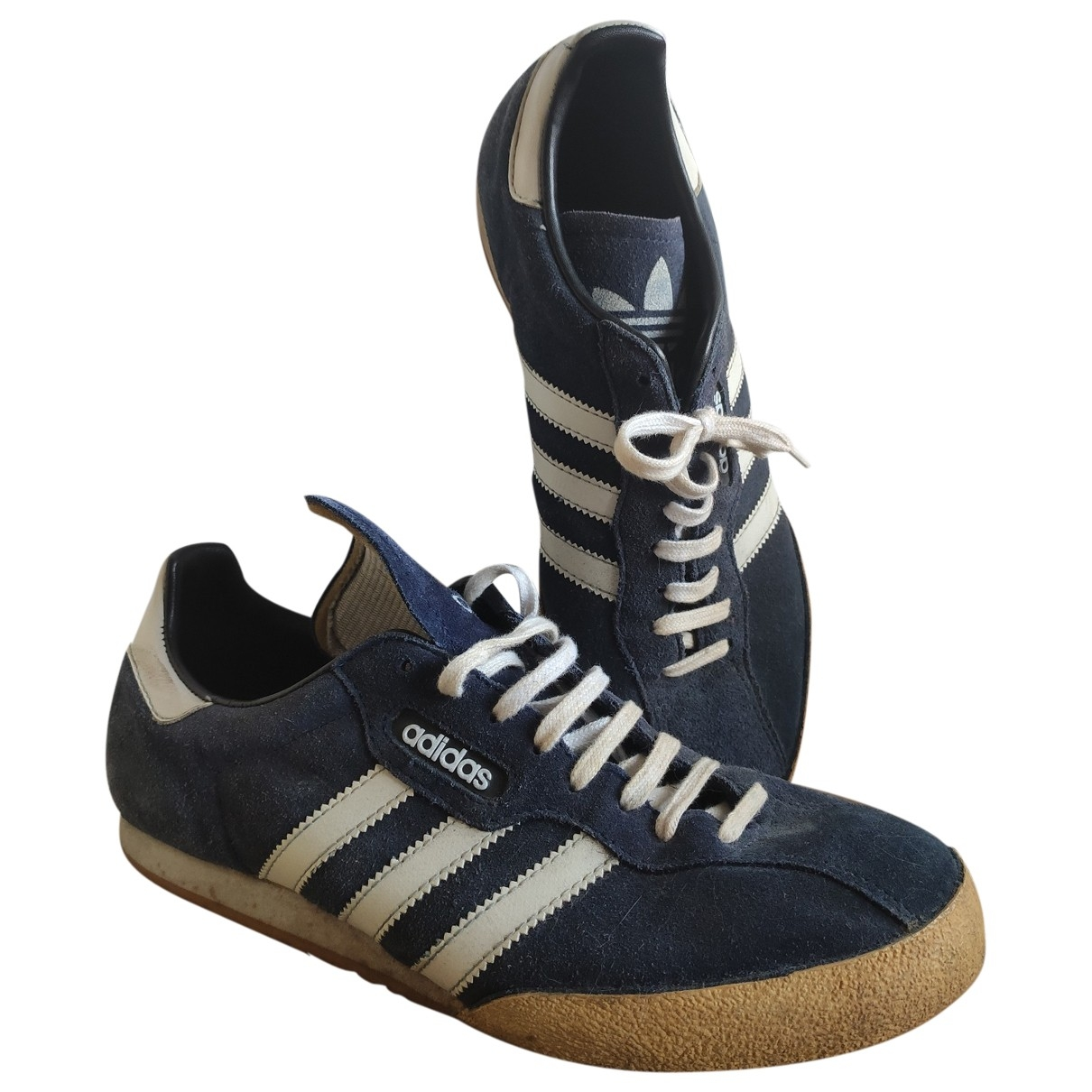 Adidas Samba Blue Leather Trainers for Men 10.5 US