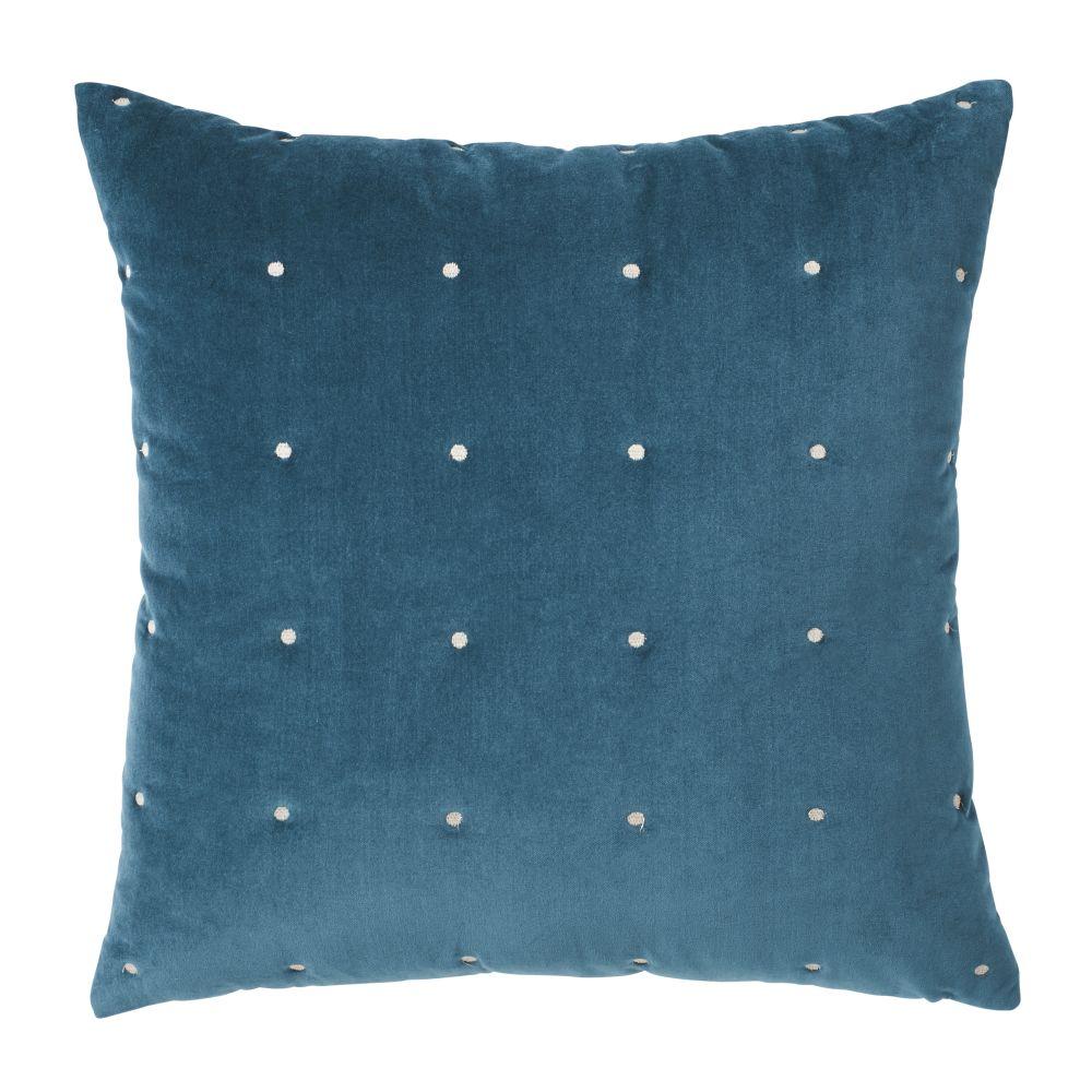 Samtkissen, abgesteppt und taubenblau 60x60