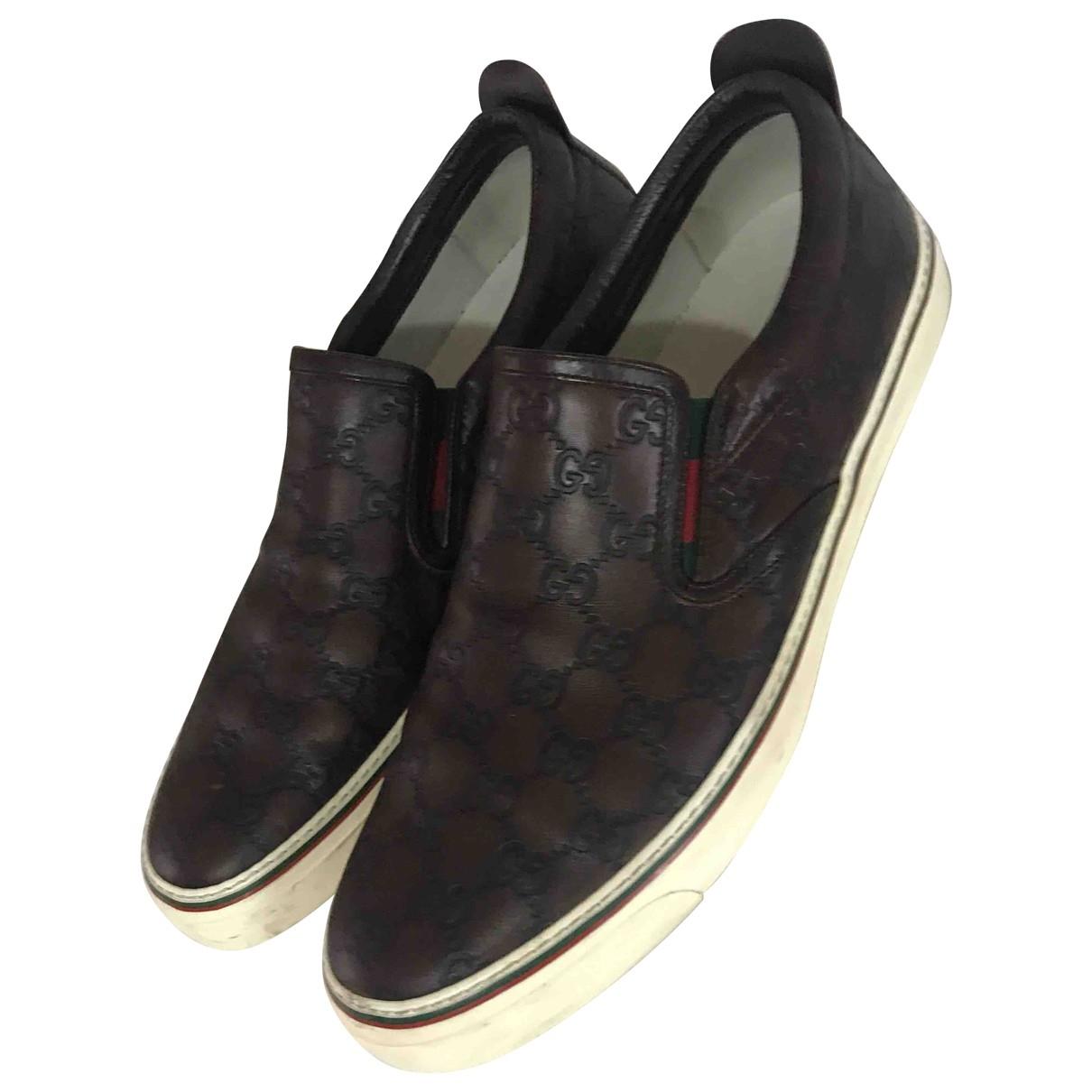 Gucci - Baskets   pour homme en cuir - marron