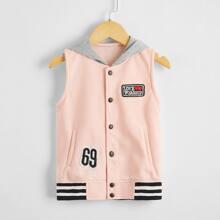 Toddler Girls Striped Letter Patched Hooded Vest Jacket