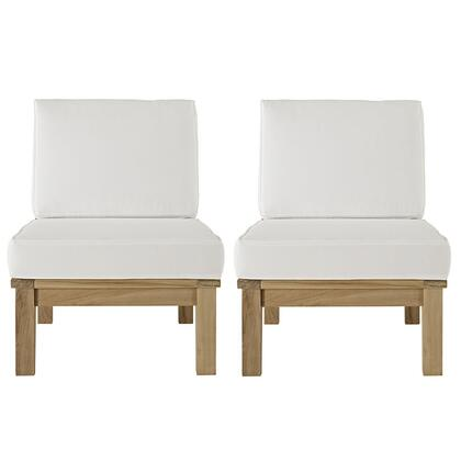Marina Collection EEI-1821-NAT-WHI-SET 2 Piece Outdoor Patio Chair Set with Solid Teak Wood Construction  Water Resistant and All-Weather Fabric